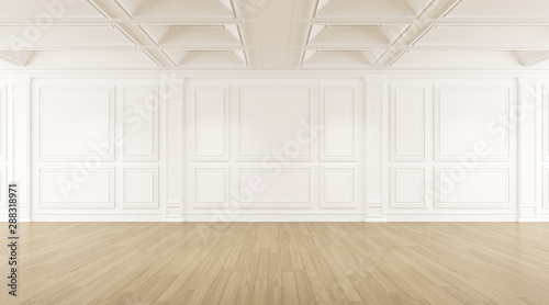 Obraz Perspective of the white empty room with wood laminate floor, Classic style of interior design. 3d rendering - fototapety do salonu