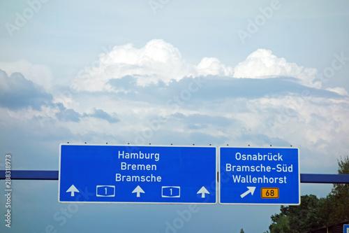 autobahnschild, hamburg, bremen, bramsche, a1, osnabrück, bramsche-süd, wallenho Canvas Print