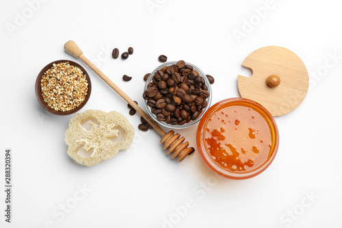 Different ingredients for handmade face mask on white background, top view Canvas Print