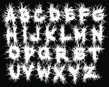 Metal Music Band's Font.White Typeset On Black Background.