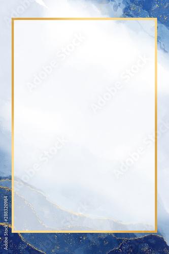 Fototapeta blue and gold watercolor background obraz