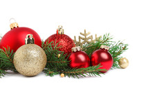 Christmas Tree Branches And Festive Decoration On White Background