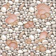 Stone Texture With Seashells, Seamless Pattern