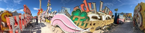 LAS VEGAS - JUNE 27, 2019: Panoramic view of Neon Museum. It is a famous tourist attraction