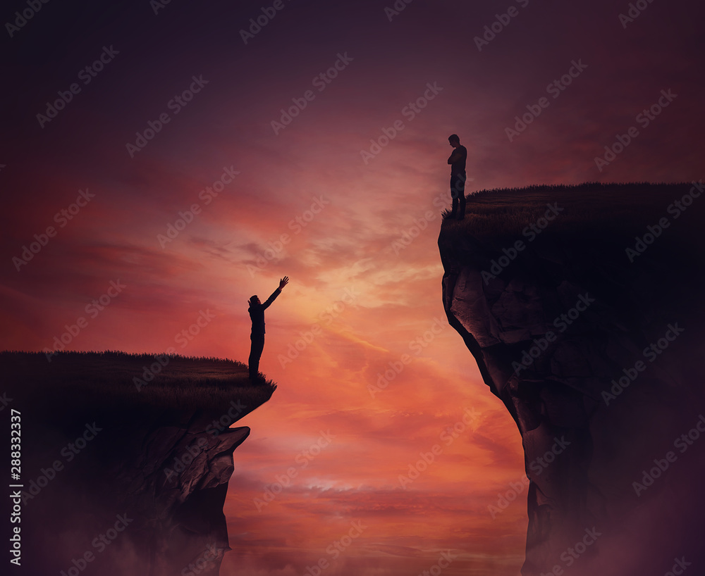 Fototapety, obrazy: Two persons standing on different high peaks showing the divergence of success achievement. Inequality between people concept as global social issue. Discrimination, injustice and unfairness symbol.