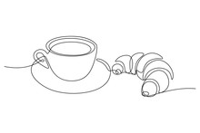 Coffee Cup With Croissant In Continuous Line Art Drawing Style. Black Line Sketch On White Background. Vector Illustration