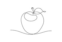 Apple Fruit In Continious Line Art Drawing Style. Minimalist Black Line Sketch On White Background. Vector Illustration