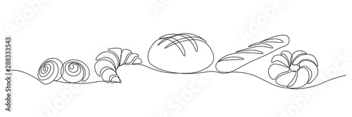 Foto Bakery products in continuous line art drawing style