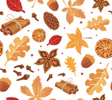 Autumn Seamless Vector Pattern With Pumpkin Spice Elements: Cinnamon, Cloves, Anise And Yellow And Red Leaves, Cones And Acorns On The White Background.