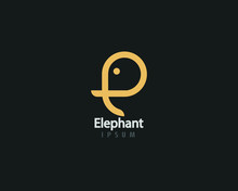 Initial Letter E Elephant Logo