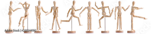 Set wooden figure a man on white background isolation Fototapet