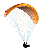 Beautiful Paraglider In Flight. Isolated