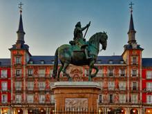 Felipe III Statue In Plaza Mayor In Madrid At Dusk