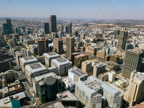 Printed kitchen splashbacks South Africa High angle view over Johannesburg city center, South Africa