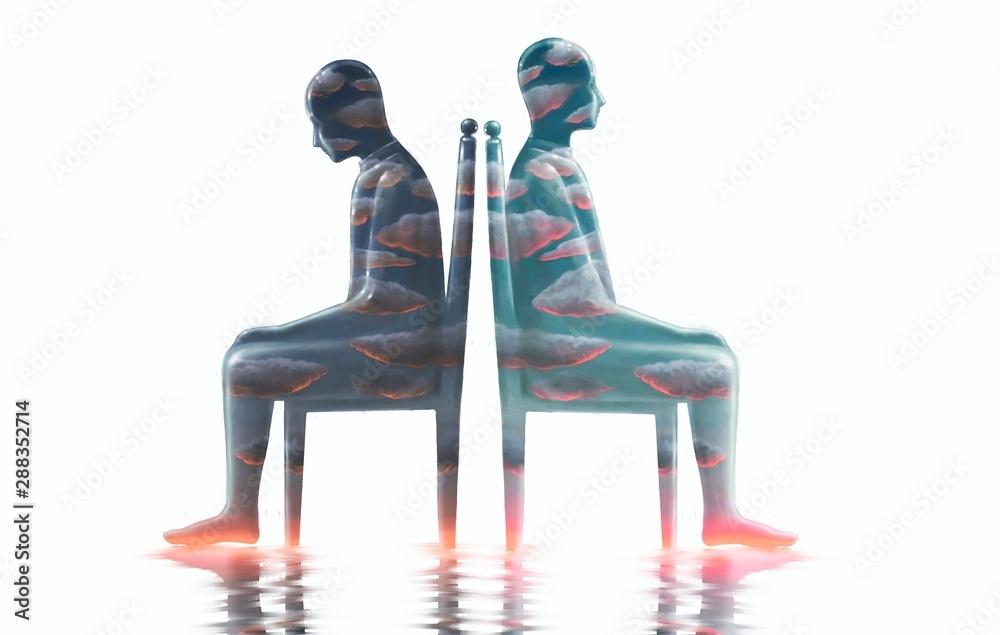 Fototapeta Two cloudy man sitting on a chair surreal illustration, bipolar disorder, sadness, mental health, loneliness, emotional, inside, depression ,fantasy art
