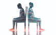 Two cloudy man sitting on a chair surreal illustration, bipolar disorder, sadness, mental health, loneliness, emotional, inside, depression ,fantasy art