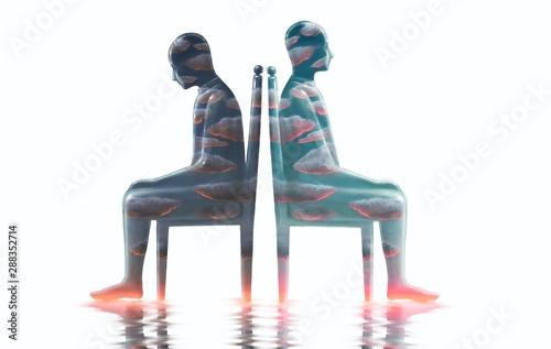 Obraz Two cloudy man sitting on a chair surreal illustration, bipolar disorder, sadness, mental health, loneliness, emotional, inside, depression ,fantasy art - fototapety do salonu