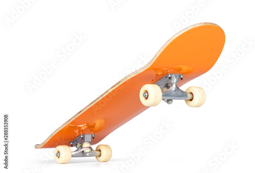 Valokuvatapetti Yellow skateboard deck, isolated on white background