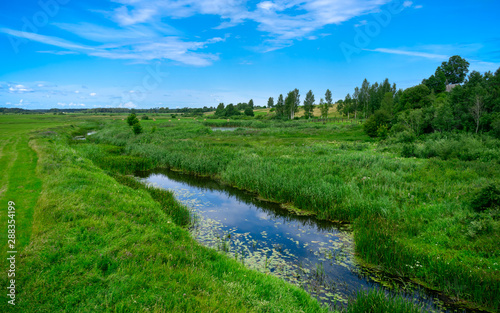 Foto auf AluDibond Grun A narrow water canal, river, stream going through a green grass field landscape into bright summer clouds. Rural, countryside landscape