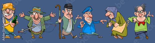 set of cartoon emotional diverse characters of the elderly