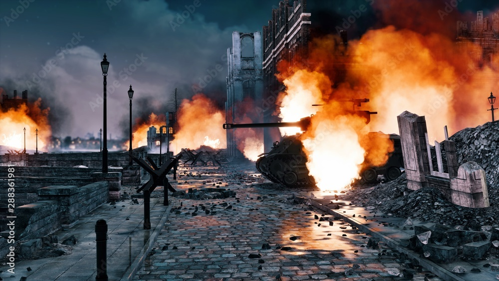 Fototapety, obrazy: Urban battlefield scene with ruined city buildings and burning WWII tank among empty street at night. With no people historical military 3D illustration from my own 3D rendering file.