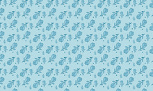 Teal Lisianthus With Dots Pattern Background