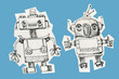Two funny robots .Vintage ink drawing.