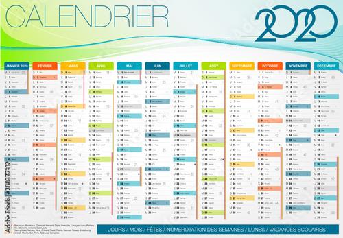 Canvastavla Calendrier 2020 Français JOURS / MOIS / SEMAINES / SAINT / LUNES
