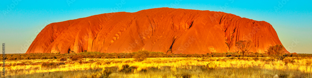 Fototapety, obrazy: Banner panorama of red color of Uluru or Ayers Rock at sunset, the huge sandstone monolith in Uluru-Kata Tjuta National Park, icon of Australian outback or Red Centre. Australia, Northern Territory.