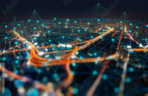 Wireless network and Connection technology concept with Abstract Bangkok city background - 288382561
