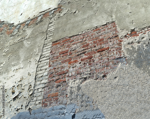 Detail of an old and weathered brick wall.