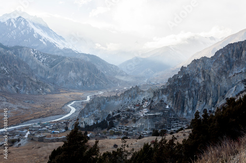 Small mountain village Braga (Braka) in Nepal, Himalaya, Annapurna Conservation Area