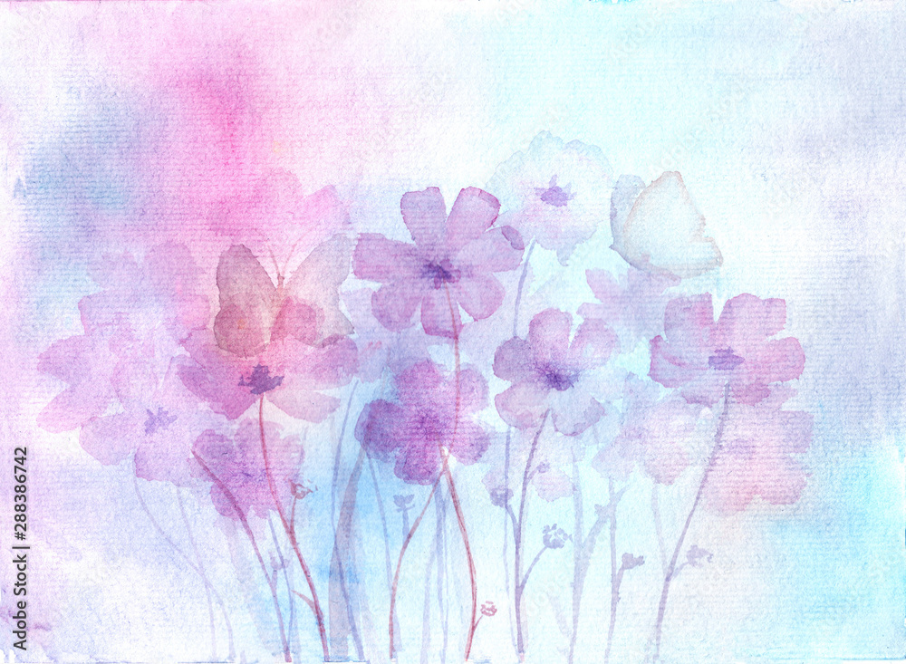 Fototapety, obrazy: Floral background. Hand-drawn, watercolor flowers and buterflyies. Watercolor splashes and stains. Floral concept. Botanical illustration.