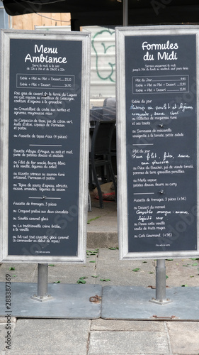 Obraz na plátně menu de restaurant
