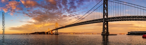 Poster Bridges Colorful panorama of the San Francisco bay bridge at sunset