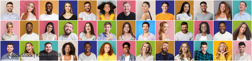 Fototapety, obrazy: Collage of smiling and happy multiethnic people