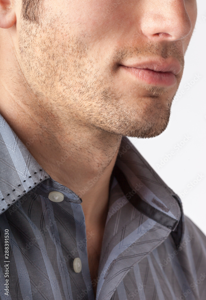 Fototapeta Close-up of man's chin and jawline with facial hair beard stubble five o'clock shadow. Men's personal care and grooming.