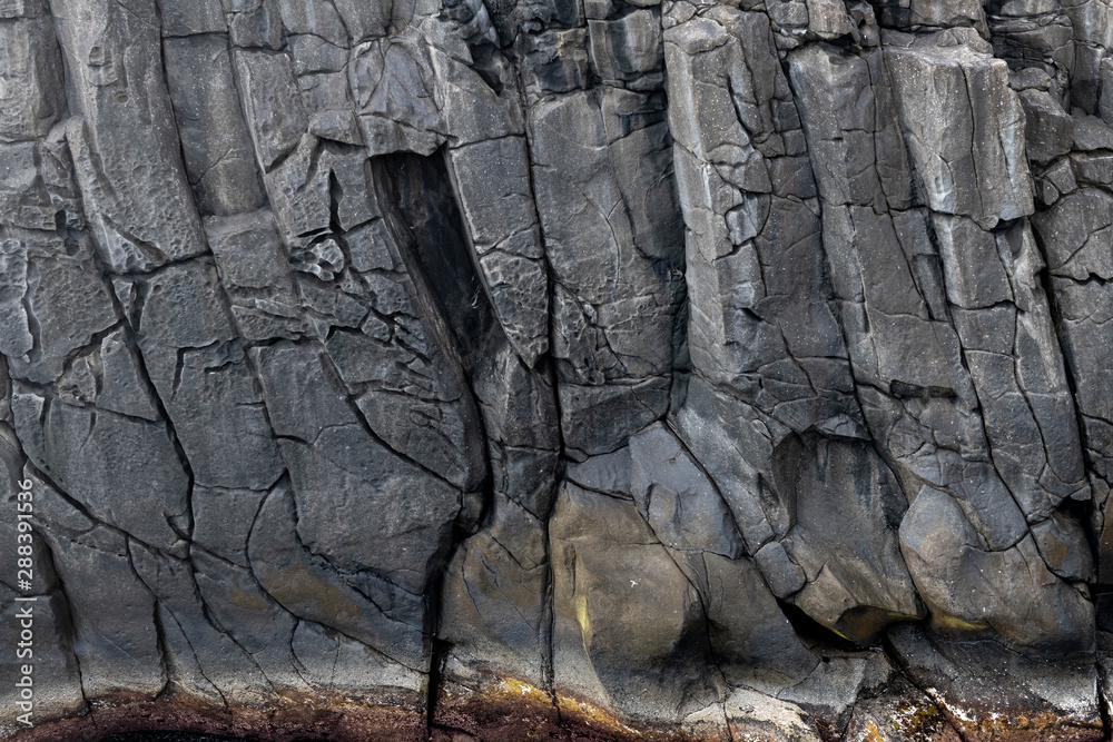 Fototapety, obrazy: Abstract black lave basalt rock formation walls at the Ponta do Mistério on Terceira Island, Azores