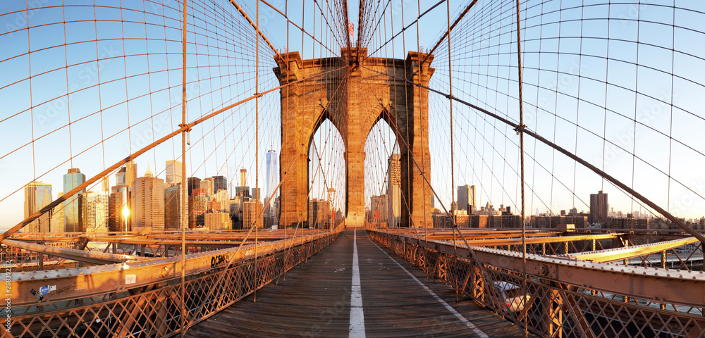 Fototapeta New York City with brooklyn bridge, Lower Manhattan, USA