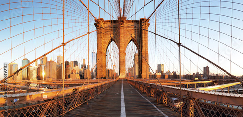 New York City with brooklyn bridge, Lower Manhattan, USA Canvas Print