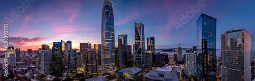 Twilight with a pink and blue sunset over San Francisco skyline with Salesforce Wallpaper Mural