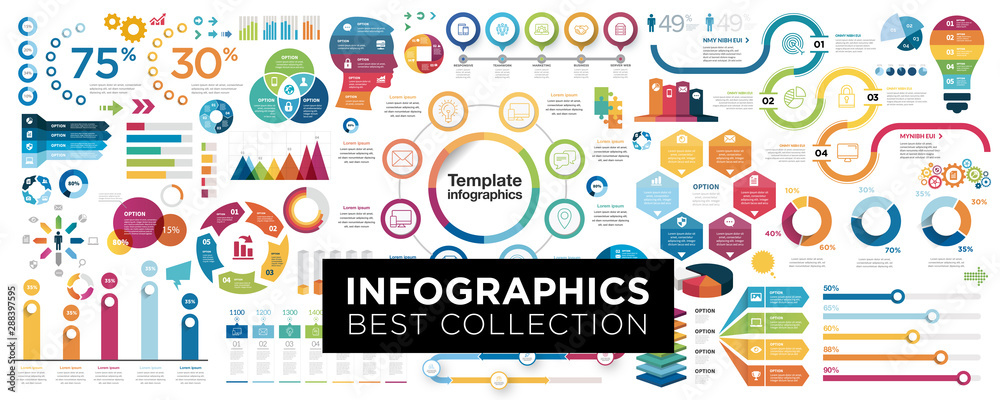 Fototapety, obrazy: Vector mega set of infographic elements