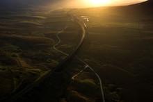 Ariel Picture Of Yorkshire Landmark Ribblehead Viaduct, North Yorkshire, Yorkshire Dales, Sunrise, Clouds, Railway, Landscape, Grassland, Ingleborough © Julian Hodgson 2019