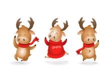 Cute Moose Or Reindeer Celebra...