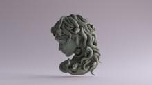Old Bronze Medusa Bas Relief 3d Illustration 3d Render