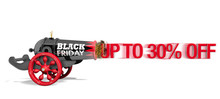 Old Black And Red Cannon With The Text BLACK FRIDAY Viewed From Side Firing The Red Message UP TO 30% OFF With Speed Effect On White Background. 3D Illustration
