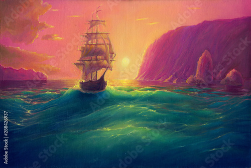 Oil painting on canvas, sea landscape background with ship, vessel in ocean drawing, its art hand drawn by oil