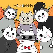 Cartoon Cute Halloween, Mummy And Vampire And Zombie And Ghost Cat Vector.