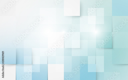 Blue and white abstract geometric and rectangles background
