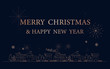 Merry Christmas and Happy New Year postcard. City in winter with Simple outline linear style
